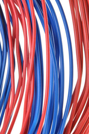 power cables: Red and blue electrical power cables Stock Photo