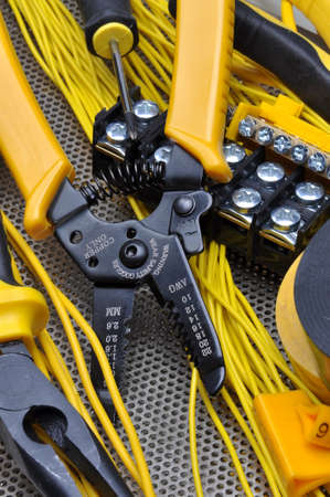 electrical component: Pliers strippers with electrical component kit Stock Photo