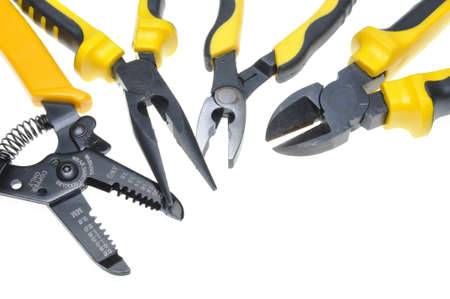 Tools for electrical installation isolated on white background photo