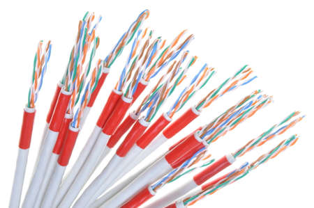 multicore: Computer network cables isolated on white background