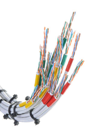 multicore: Computer network cables with cable ties on white background