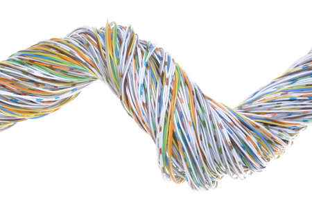 network cables: Telecommunication network cables isolated on white background