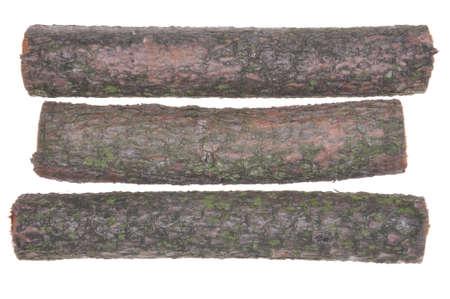 木のログに孤立した白い背景