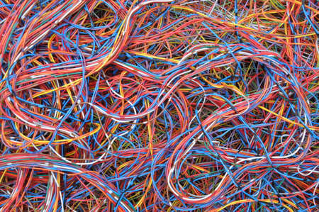 Colored telecommunication cables and wires Banco de Imagens - 39758277