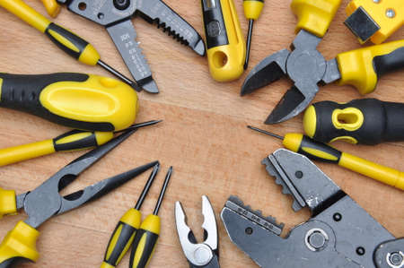 electric tools: Tools for electrical installation on wooden board