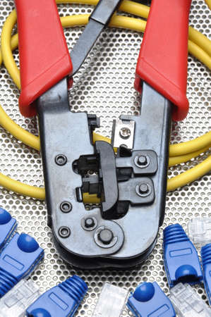 crimp: Crimping tool with network cable and connectors