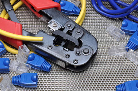 crimping: Crimping tool with network cable and connectors