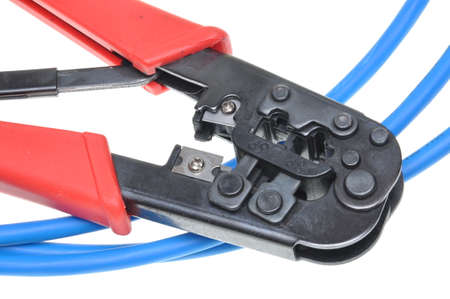 cable cutter: Crimping tool with a computer network cable