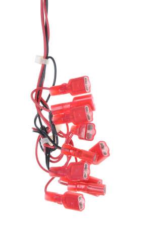 Farbe Elektrische Leitungen Mit Reihenklemmen Isoliert Auf Weiß ...