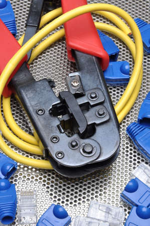 cable cutter: Crimping tool with network cable and connectors