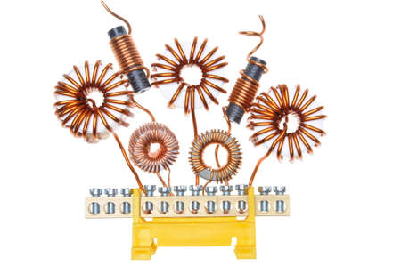 electromagnetism: Copper coils and wires abstract energy industry Stock Photo