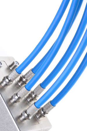 coax: Coaxial cables with tv splitter