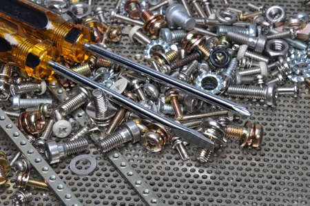 components: Screwdrivers and components bolts nuts screws washers