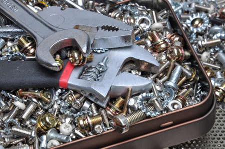 bolts and nuts: Wrenches with components bolts nuts screws washers