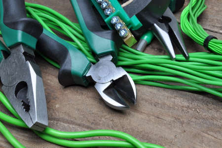 component: Pliers tools and component for electrical installation Stock Photo