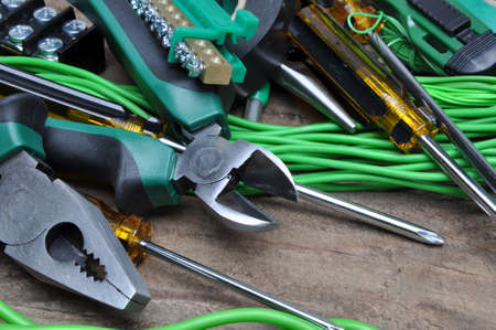 Pliers tools and component for electrical installation Banque d'images