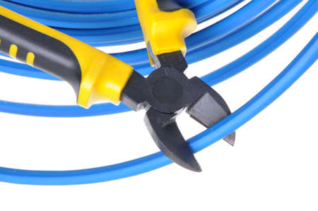 disconnecting: Tool cutting pliers blue cable isolated on white background Stock Photo