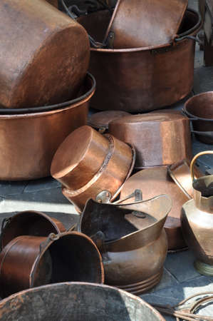flea market: Copper pots on flea market Stock Photo
