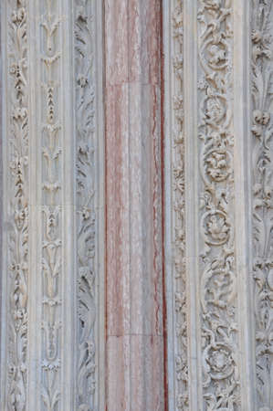 bass relief: Marble ornament plant the columns of the Duomo of Siena