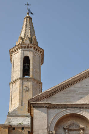 valdorcia: Tower of cathedral in Pienza, Italy, Europe