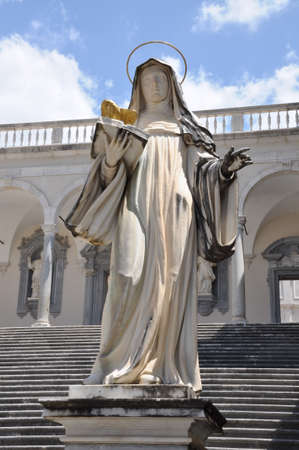 religious habit: Sculpture of Santa Clara Abbey at Monte Cassino Stock Photo