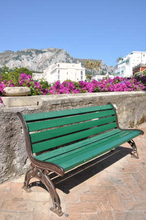 empty bench: Empty bench during the siesta time in Italy town