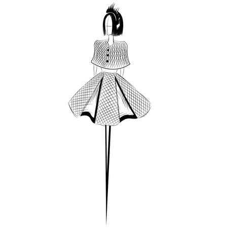 article of clothing: Sketch of elegant fashion woman Illustration