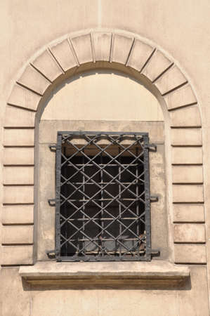 grid: Arched window with iron grid