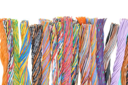 multicore: Multicolored telecommunication cables isolated on white background