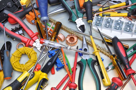 electricity cable: Tools and component kit to use in electrical installations