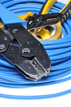 crimping: Crimping tool and cables isolated on white background Stock Photo
