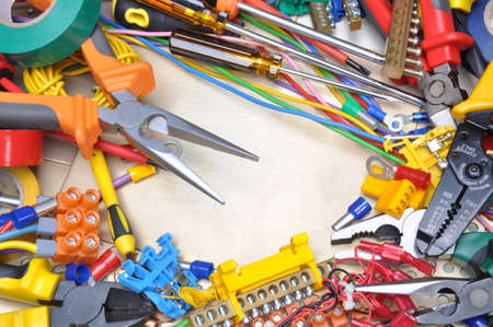 industrial tools: Tools and component kit for use in electrical installations Stock Photo