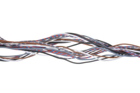 multicore: Multicolored cable isolated on white background Stock Photo