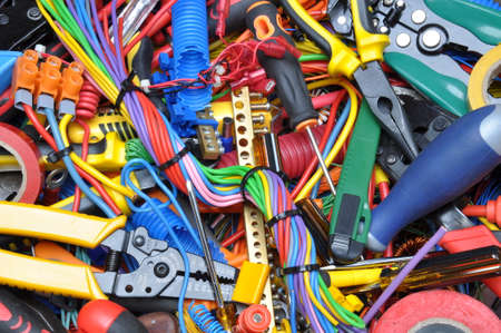 cable cutter: Tools and electrical component kit used in electrical installations Stock Photo