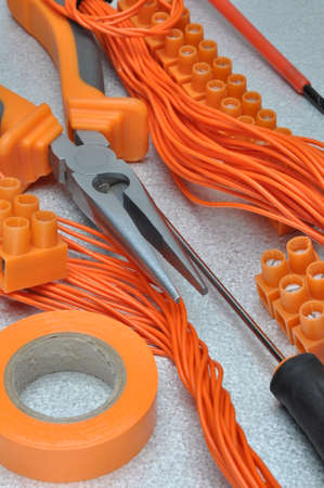 cable cutter: Tools and electrical component kit to use in electrical installations Stock Photo