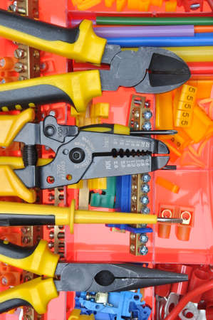 electrical: Tool box with electrical tools and components Stock Photo