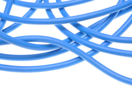 abstract swirls: Blue electrical power cable isolated on white background