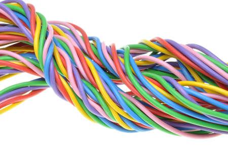 cables electricos: Cables eléctricos aislados en el fondo blanco