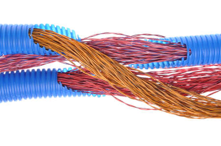 the casing: Cables and corrugated cable casing pipes for electrical, computer and telephone cable ducting