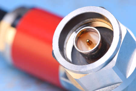 connector: Closeup of coaxial connector Stock Photo