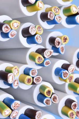 Group of electric cables closeup