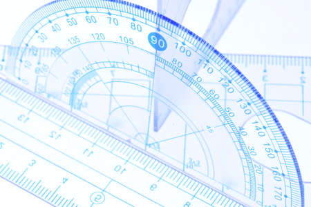 in number: Transparent protractor, ruler and square measuring tools