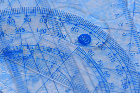 architecture design: Transparent protractor, ruler and square measuring tools