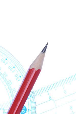 design office: Pencil protractor and ruler banner Stock Photo