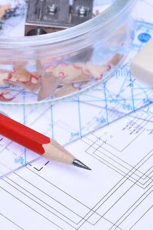 rulers: Pencil rulers and electrical scheme closeup