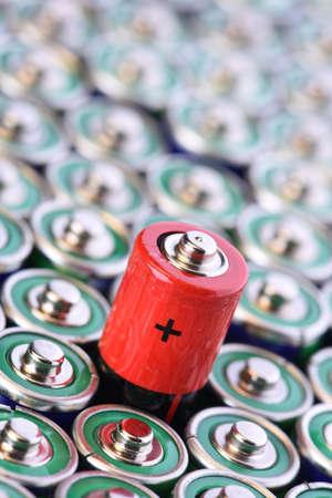 Alkaline battery AAA size with selective focus on single battery 版權商用圖片