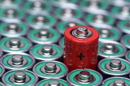Alkaline battery AAA size with selective focus on single battery 스톡 콘텐츠