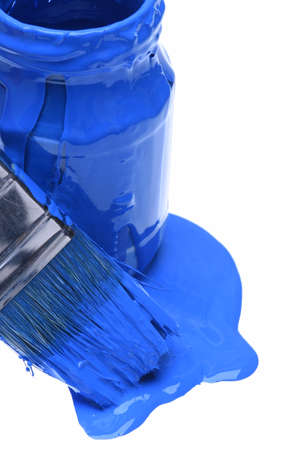 paint can: Closeup of blue paint can with brush isolated on white background