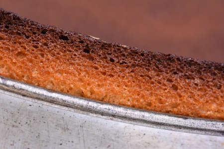 bakeware: Close up of metal springform cake with fresh