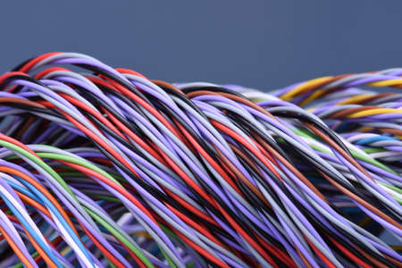 multicore: Colored telecommunications cables and wires Stock Photo